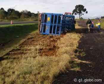 Motorista fica ferido após tombar caminhão, na BR-373 - G1