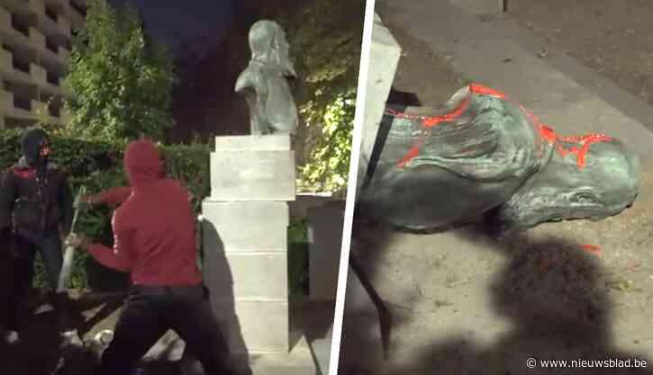 """Het moment waarop activisten standbeeld van Leopold II vernielen: """"Misschien wordt nu naar ons geluisterd"""""""