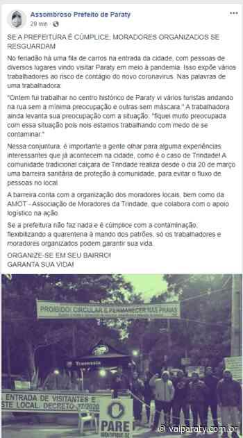 """Página """"Assombroso Prefeito de Paraty"""" sugere que moradores se organizem e ajudem a fiscalizar a entrada de turistas - VaiParaty"""