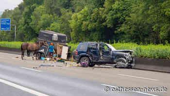 Reifenplatzer am Pferdeanhänger: Gespann verunglückt auf der A 7 - Osthessen News