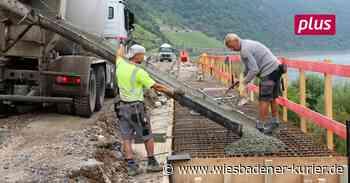 Löcherbohren prägt das Tagwerk auf der Baustelle bei Lorch - Wiesbadener Kurier