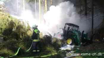 Traktor in Brand: Feuerwehr-Einsatz im Wald zwischen Balve und Hemer   Balve - Meinerzhagener Zeitung