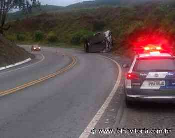 Caminhão tomba na BR-262 em Ibatiba e motorista fica ferido - Folha Vitória