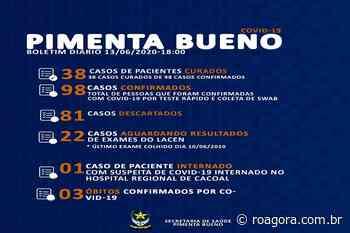 Pimenta Bueno chega a 98 casos de Covid-19 e 38 pessoas já estão curadas - Roagora