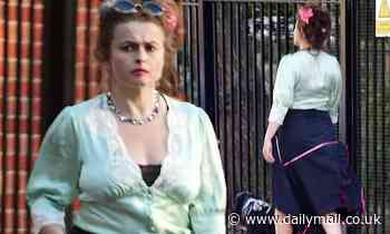 Helena Bonham Carter shows off her unique style as she takes her dog Pablo for a walk - Daily Mail