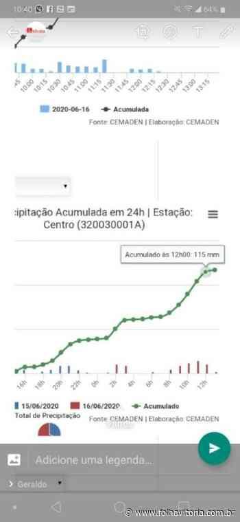 Chuva intensa é motivo de preocupação para moradores de Alfredo Chaves - Folha Vitória