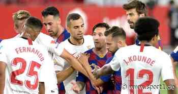 La Liga: FC Barcelona gegen Sevilla nur remis - Lionel Messi entgeht Rot - SPORT1