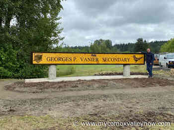 Newly unveiled G.P. Vanier Secondary welcome sign collaborative effort - My Comox Valley Now