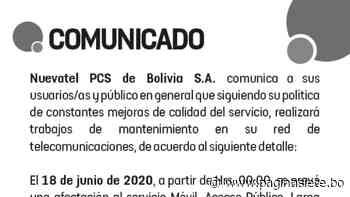 Mantenimiento en la red de comunicaciones 18 de Junio en Pando, Santa Cruz y Beni, Viva - Diario Pagina Siete