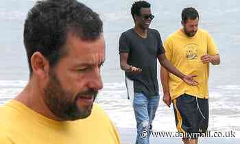 Adam Sandler and Chris Rock take an afternoon walk along the beach in Malibu - Daily Mail