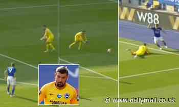 Mat Ryan's bizarre backwards throw is mocked after Brighton keeper almost gifted Jamie Vardy a goal