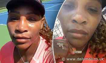 Serena Williams shows off 'Inspire' necklace on tennis court - Daily Mail