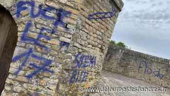Dégradations : Acte de vandalisme à Bergues : les remparts tagués à la bombe bleue - Le Journal des Flandres