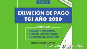 Comuna de Sauce Viejo: Eximición pago de TGI 2020 - Uno Santa Fe