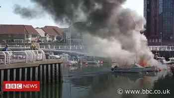 Sunderland marina fire sinks boat