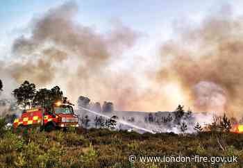 London Firefighter helps save family farm from wildfire