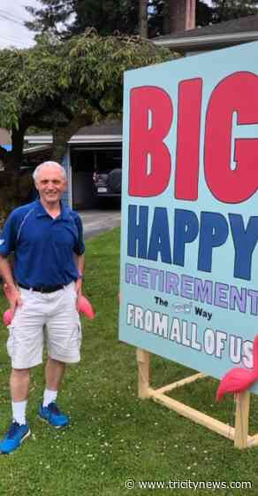 Giant card sends Port Coquitlam teacher off to retirement after 47 years on the job - The Tri-City News