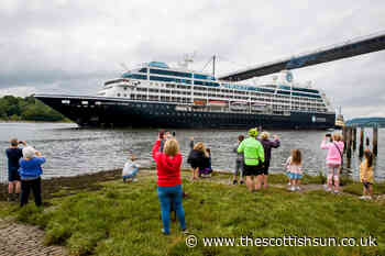 Watch as luxury Azamara Journey cruise ship sails up the River Clyde as locals watch it dock in Glasgow - The Scottish Sun
