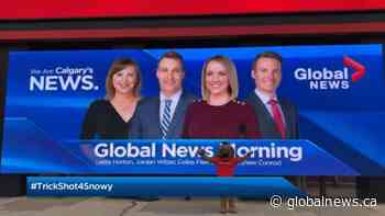 Global News Morning Calgary challenged to #Trickshot4Snowy by Calgary Stampeders