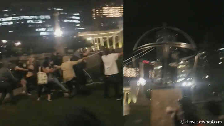 VIDEO: Group Of People Pull Down Statue That Honors Christopher Columbus In Denver's Civic Center Park