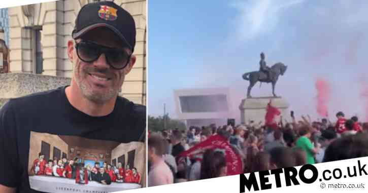 Jamie Carragher joins thousands of Liverpool fans celebrating as huge crowd gather despite pleas from mayor and club