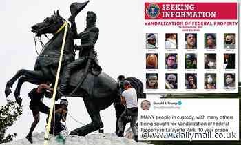 Trump shares wanted poster for Andrew Jackson statue vandals