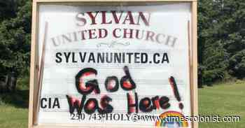 Black Lives Matter sign vandalized at Mill Bay church - Times Colonist