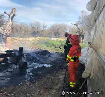 Scoppia un incendio nel vivaio sulla Caprarica-Cavallino, la Protezione Civile evita il peggio - Leccenews24