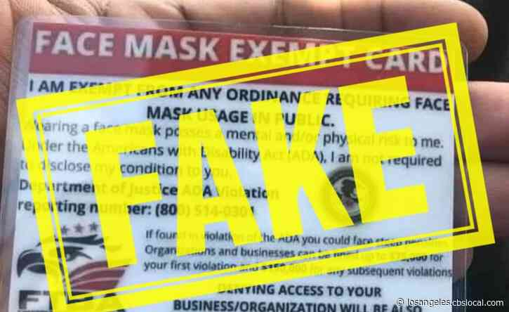 Health Officials Want You To Know `Face Mask Exempt' Cards Are Fake