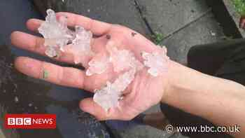 UK weather: Hailstones fall on Leeds and Sheffield