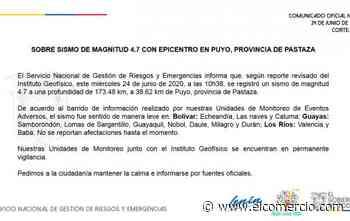 Sismo de 4.7 grados cerca de Puyo se sintió en Amazonía, Sierra y Costa - El Comercio (Ecuador)