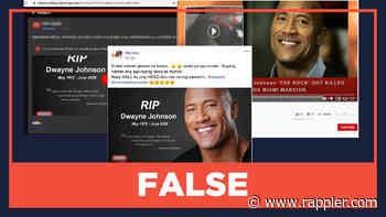 FALSE: Dwayne Johnson dies in June 2020 - Rappler