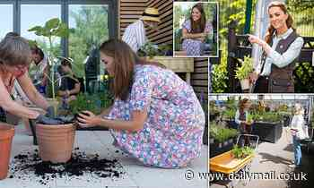 Kate Middleton gets her hands dirty in visit to children's hospice garden