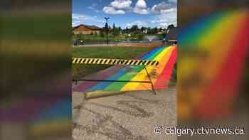 'Absolutely unacceptable': Pride pathway in Alberta community targeted by vandals