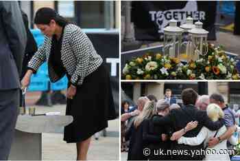 Priti Patel lights candle for Reading terror attack victims at moving twilight vigil