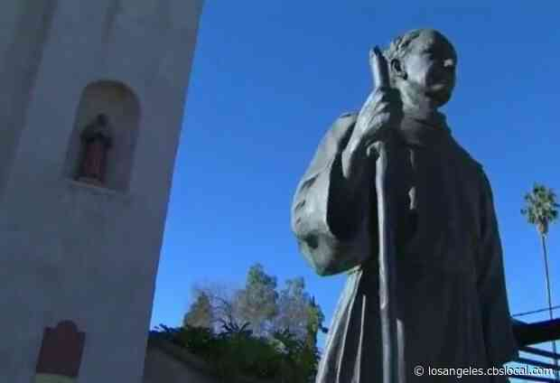 Protesters Gather In Mission Hills To Speak Out Against Public Statues Of Father Junipero Serra