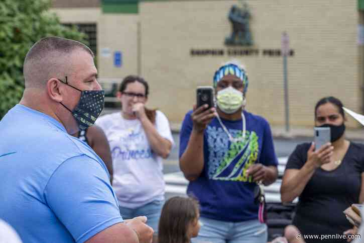 After several dozen people protested in front of the Dauphin County Prison Saturday morning Brian Clark, Director of Corrections, meet with the group who expressed to him concerns about the health of their loved ones and conditions inside the prison durin