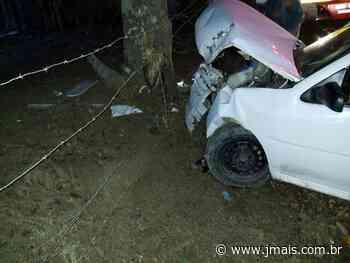 Veículo com placas de Canoinhas colide contra árvore em Papanduva - JMais