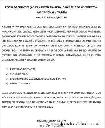 Edital de convocação de Assembleia Cooperativa Habitacional Viva Bem - Jornal de Vinhedo