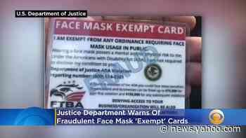 Justice Department Warns Of Fraudulent Face Mask 'Exempt' Cards