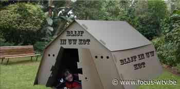 Kartonnen camping tegen corona in Harelbeke - Focus en WTV