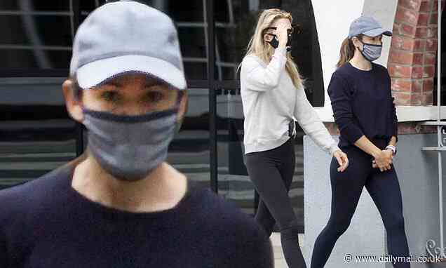 Jennifer Garner covers up in grey mask and cap for morning stroll with a pal - Daily Mail