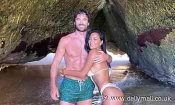 Bikini-clad Nicole Scherzinger cosies up to hunky boyfriend Thom Evans, 35, on her 42nd birthday