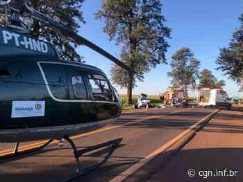Aeromédico dá apoio à acidente na PR-182, entre Maripá e Palotina - CGN