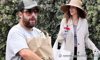 Adam Sandler picks up groceries from a market in Malibu with his wife Jackie - Daily Mail