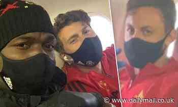 Paul Pogba gives Manchester United fans glimpse inside their flight to Brighton as he wears masks