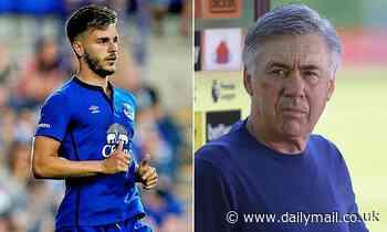 Everton boss Carlo Ancelotti seems confused when asked about Luke Garbutt who has been away on loan