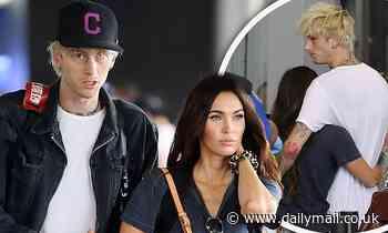 Megan Fox snuggles her new love Machine Gun Kelly at LAX