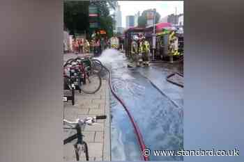Flooding in Tower Hamlets as water main bursts outside former hospital building - Evening Standard