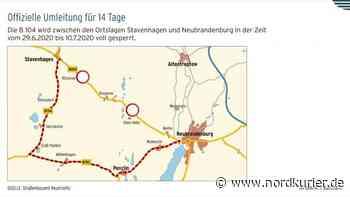B104 ab Montag zwischen Neubrandenburg und Stavenhagen gesperrt - Nordkurier